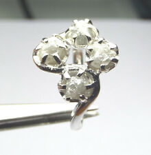2.49+ ct Natural White 4 Uncut Raw Rough Diamond 925 Silver engagement ring NR 3