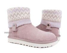 UGG Saela Icelandic Dusk Pink Knit Suede Fur Boots Womens Size 7 *NIB*