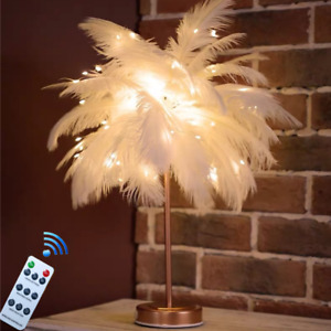 White Feather Lampshade Table Lamp Shade Bedside Desk Night Light W/Remote Decor