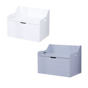 Large Wooden Toy Box White Storage Unit Kids Toys Children Nursery Bedroom Chest