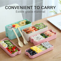Microwave Lunch Box Portable Straw Bento Box Food Storage Container 3 Layer