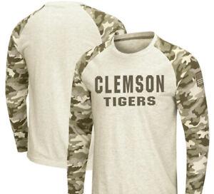 New Clemson Tigers Colosseum Military Appreciation Desert Camo Raglan L/S Shirt