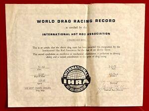 1973 IHRA 1/4 Mile World Drag Racing Record Certificate Van Wert County Dragway