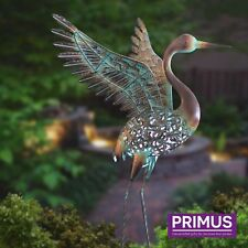 Hand Crafted Metal Solar Winged Crane LED Light Garden Patio Lawn Bird Sculpture