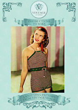 Vintage Knitting Pattern-1940s 3 ply 5 colour swimsuit swimming costume pattern