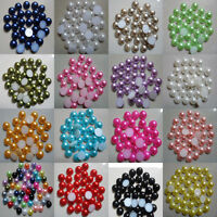 100pc 8/10mm Half Round Pearl Bead Flat Back Size Scrapbook for Craft Pick Color