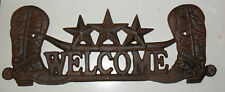 Large Cast Iron BOOTS n STARS WELCOME PLAQUE SIGN