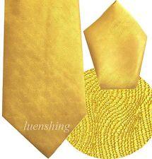 NEW 100% SILK MEN'S NECK TIE & HANKIE SET GOLD MUSTARD formal 01G
