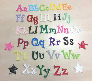 """IRON ON Felt Letters & Numbers 1.5"""" (4cm) - Upper & Lowercase Fun Font Die Cut"""