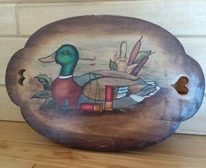 "VTG Rustic Artisan Made Mallard Duck Painted  Wood Folk Art Country Stool 16"""