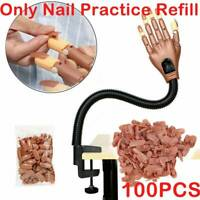 100PCS Nail Training Hand Replacement Tips Displays Practice Trainer Care AU
