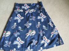 WHITE STUFF NAVY BLUE FULLY LINED KNEE LENGTH SKIRT WITH BUTTERFLY PATTERN - SIZ