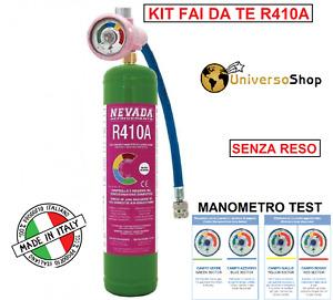 GAS R410A REFRIGERANTE RICARICA PER CLIMATIZZATORI KIT FAI DA TE CON MANOMETRO