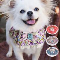 3pcs Cute Dog Cat Bandana Collar Floral Lace Neckerchief Scarf Small Medium Dogs