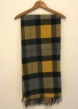 Fiori Di Firenze Wool Throw Made Italy Plaid Gold Black Natural Lap Blanket NWT