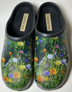 Backdoor Garden Clogs Shoes Slip On Waterproof Meadow Flower Design US 8 EU 39