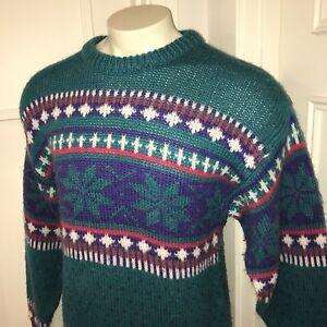 Vtg 80s Ski Sweater Apres Sundays SNOWFLAKE Gaper Day Christmas retro Mens LARGE
