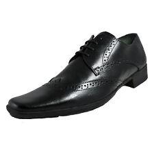 Mens Black Leather Lace Up Brogue Lambretta Formal Shoes : Blaine