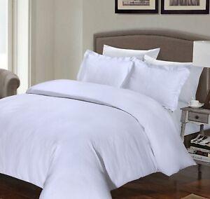 Duvet Covers White 200TC Satin Stripe Bedding Set Egyptian Cotton Hotel Quality