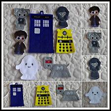 Handmade Dr Who Finger Puppets x 6  in Tardis Bag - Dalek K9 Angel Adipose