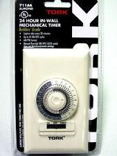Wall Timer 24 Hour Mechanical  , 15A Tork 711AA UL Listed 1000W Tungsten 1/3 HP