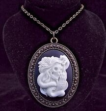 """24"""" Vintage Style Sugar Skull with Snake Cameo Pendant Necklace"""