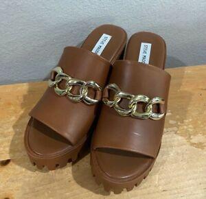 NEW Steve Madden SUDDENLY COGNAC Women's Platform Sandals SHOES SIZE 8.5 NIB