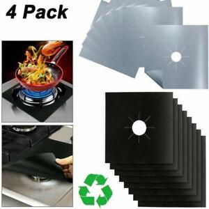 4PCS Hob Stove Cooker Cover Reusable Protector Range Liner Non Stick Gas Mat