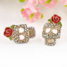 Cool Fashion Women Lovely Red Rose Skeleton Skull Rhinestone Ear Stud Earrings