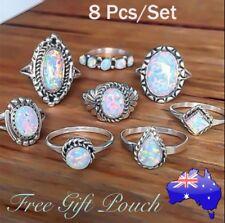 8pcs White Fire Opal Silver Boho Retro Ring Set Midi Rings Jewellery Womens Gift