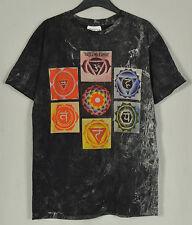 Yoga Reiki Seven Chakra Symbols on Lotus Art Bleach Cotton Tee T-Shirt Men M NEW