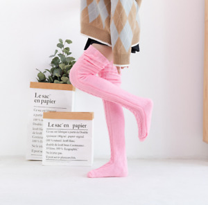Women Warm Winter Knitted Socks Over Knee Long Thigh High Boot Soft Stockings US