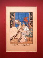 BARBIER George. Le perroquet jaloux (1919). Belle gravure couleur avec cadre