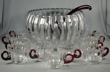 13 Pc Duncan & Miller Ruby Radiance Punch Bowl Set - Bowl, Cup, Ladle