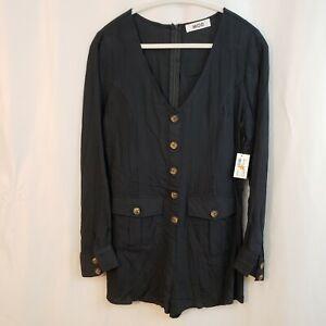 MOD L long sleeve romper lightweight pockets decor button up zip gray black NEW