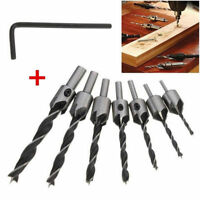 7PCS 3-10mm HSS Countersink Drill Bit Set Reamer Woodworking Chamfer Tool