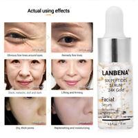 LANBENA Six Peptides 24K Gold Serum Face Anti-Aging Cream Anti-wrinkle 15ML New