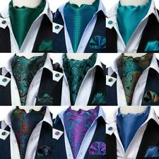 Mens Cravat Ascot Silk Vintage Scarf Tie Blue Black Red Novelty Paisley Wedding