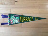 Vintage Terrace British Columbia Pennant Felt Banner Canada Souvenir BC Travel