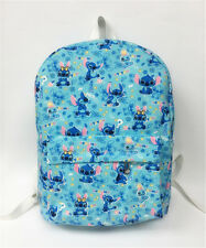 "disney blue stitch 15"" canvas backpack shoulder bag school bags anime unisex"