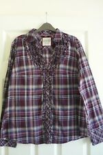 Esprit Cotton Blouse/Shirt Long Sleeve Purple Mix UK Size 16