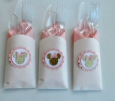 Pink and Gold Minnie Mouse Utensils Wrapped Party/ Baby Shower/   SET OF 10