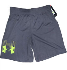 Little Boys Under Armour Heat Gear Pitch  Gray Yellow Shorts Size 4 NWT