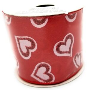 """3 Yards Red/White Glitter Hearts 2.5"""" Wired Edge Ribbon Valentine's Day"""