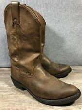 """JUSTIN Brown Leather Cowboy Heeled Boots Western Stitching 12"""" High Men US 9 EE"""