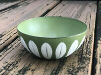 "Vtg Cathrineholm Green Bowl 4"" Lotus Enamel Avocado Mid Century Modern 60s 70s"