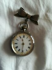 Stunning Vintage Ladies Solid Silver Fob Watch With Lovely Bow Pin Brooch.