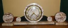 Vintage Art Deco Marble Mantel Clock With Matching Bookends - Working