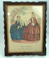 French Fashion Antique Print Vintage Wood Frame Two Ladies in 1800's Hand Color