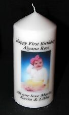 Cellini Candles Personalised First Birthday Photo Candle Gift Baby Boy Girl #4